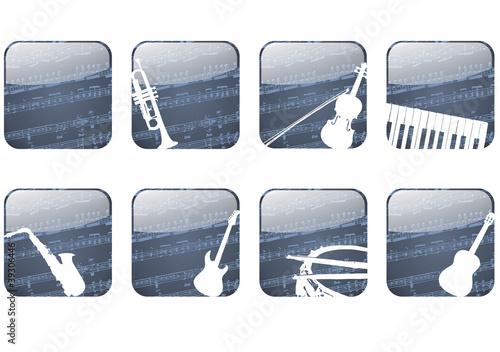 Button, App mit Musikinstrumenten und Noten