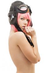 topless pink hair girl in aviator helmet