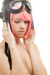 pink hair girl in aviator helmet