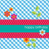 Square card with happy birthday on a polka dot ribbon and a vich