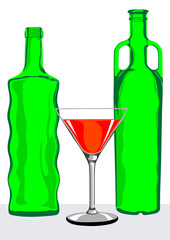 Martini bottle and glasses