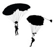 Vector silhouette of skydiver before landing