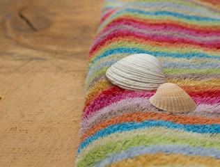 Buntes Handtuch mit Muschel