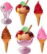 ice creams with various shapes and flavors.