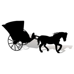 Black silhouette of a horse with carriage