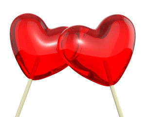 Two heart shaped lollipops, closeup