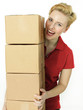 Young woman at work has fun as a parcel service