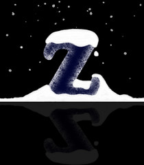text effect - ice capital Z with snow