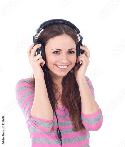 beautiful young girl with headphones isolated on white