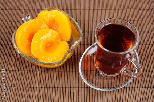 Tea with jam from peach