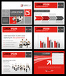 Red and gray template with business people