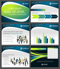 Green and blue template with business people