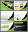 Green and black template with business people