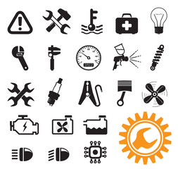 Car mechanic icons