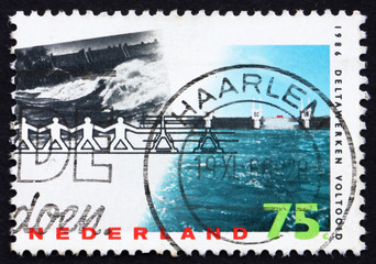Postage stamp Netherlands 1986 Barrier Withstanding Flood