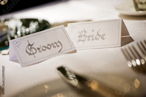 Bride and Groom name place cards