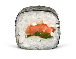sushi roll on white