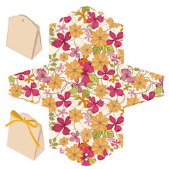 Gift box template. Floral pattern.
