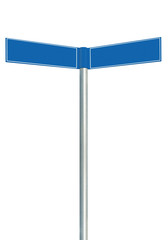 Direction road signs two empty blank signpost isolated
