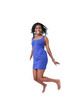 Excited black woman jumping with joy, motion blur