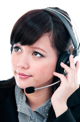 Cute Young Woman With Headset