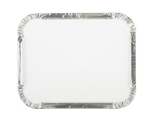 Foil Food Container with Blank White Lid