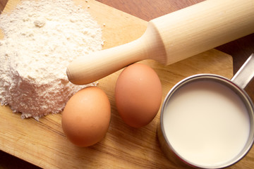 cup of milk, flour and two eggs