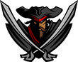 Pirate Mascot with Swords and Hat Graphic Vector Illustration