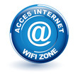acces internet , wifi zone sur bouton bleu