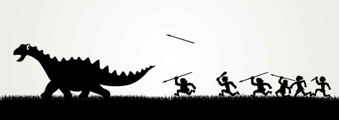 Cartoon figures chasing a dinosaur