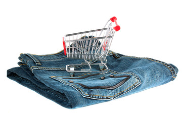 Shopping Cart with Jeans