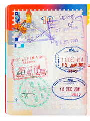 Philippines and Cambodia passport stamps