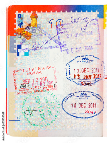 Philippines and Cambodia passport stamps