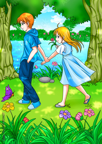 Cartoon illustration of teen couple walking in the garden
