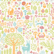 seamless background with colorful forest ornament