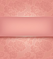 Lace background, ornamental pink flowers wallpaper.