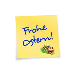 Notitzzettel gelb Frohe Ostern!