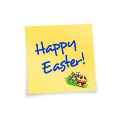 Notitzzettel gelb Happy Easter!