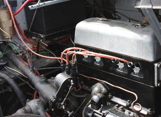 A Traditional Petrol Engine of an Old Car.