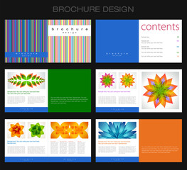 Template of brochure design with lines and abstract flowers.