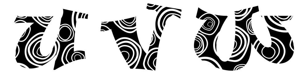 "Hand-drawn vector lliteras ""u"", ""v"",""w""  -alphabet"