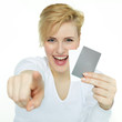 Happy woman showing her cards to you with copyspace