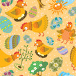 Cute color easter seamless pattern