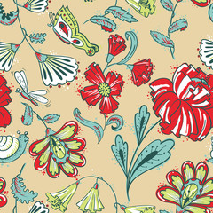Floral seamless pattern with dragonfy, slime and butterfy