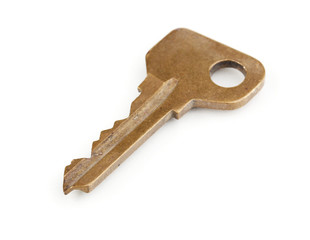 Metal key isolated on white