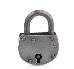 Retro padlock isolated on white