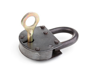 Retro padlock with key isolated on white