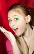Surprised redhead girl