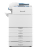 modern office multifunction printer isolated on white background poster