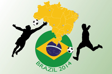Brazil 2014 - Football illustration